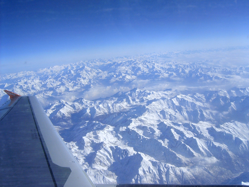 [View from jet plane over the Bavarian Alps, enroot to Italy from England.]