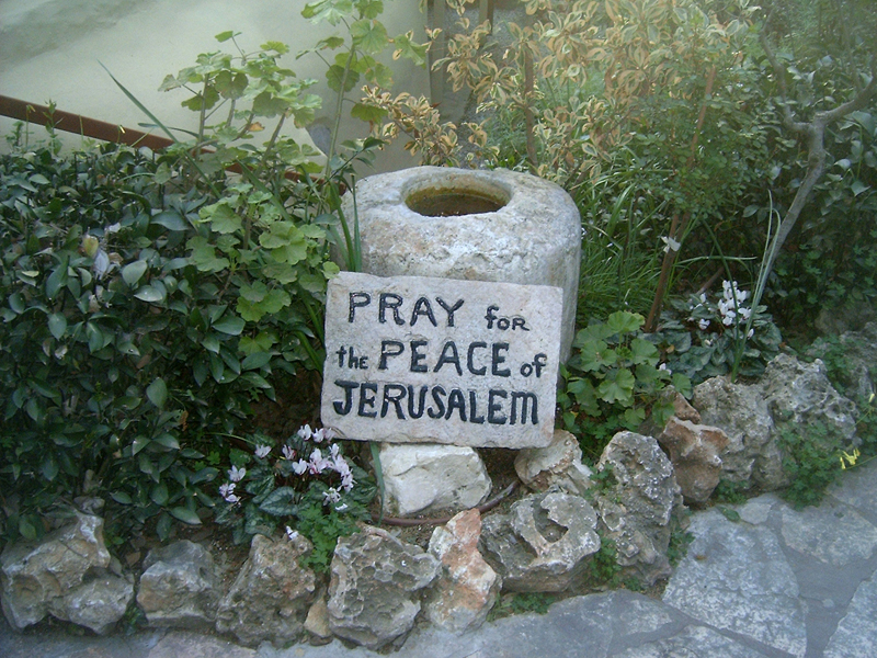 This 'MagPro Photo of the Day' shows the 'PRAY for the PEACE of JERUSALEM' sign located at the Garden Tomb in Jerusalem, Israel. These words by David are from Psalm 122:6-7, 'Pray for the peace of Jerusalem: they shall prosper that love thee. Peace be within thy walls, and prosperity within thy palaces.' Misop Baynun