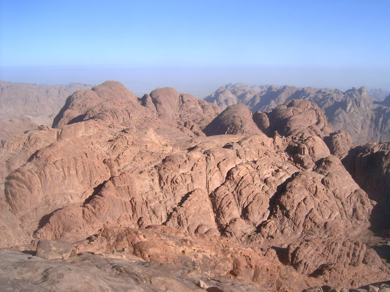 [From atop Mount Sinai, or the Mountain of God, I saw this view of other marvelous mountainous rock formations.]