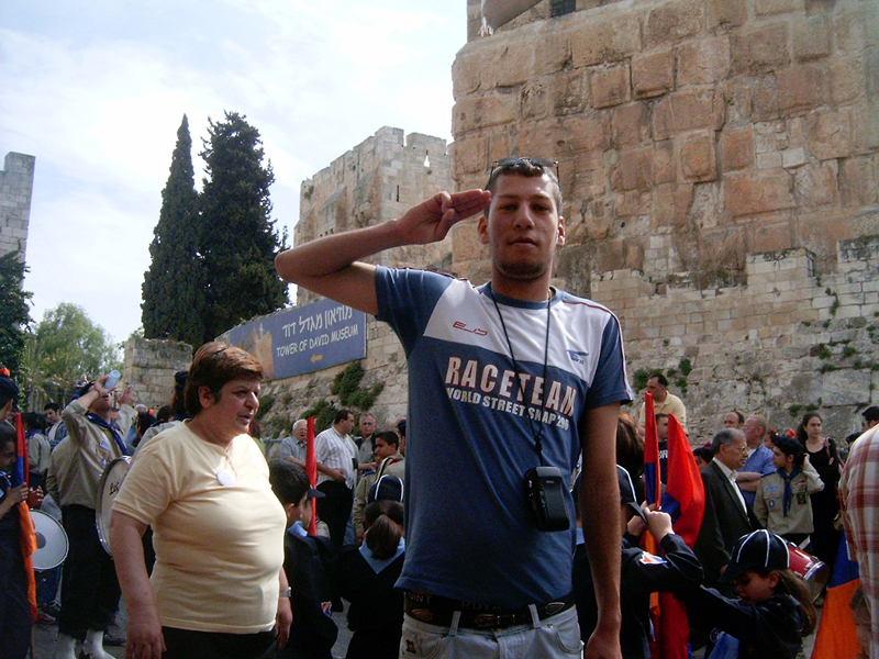 MagPro Photo of the Day: Salute from inside Old City, Jerusalem, near Yaffa Gate celebrations  My friend from the Mount of Olives gives a salute during the Old City, near Yaffa Gate, celebrations on April 30, 2005.  Photo taken in Jerusalem, Israel, outside of the Yaffa Gate. More photos? Visit Photos.MagPro.org