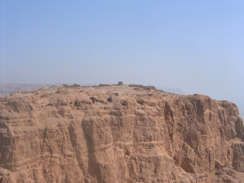 [This is a view of Masada from mountain next to Masada.]