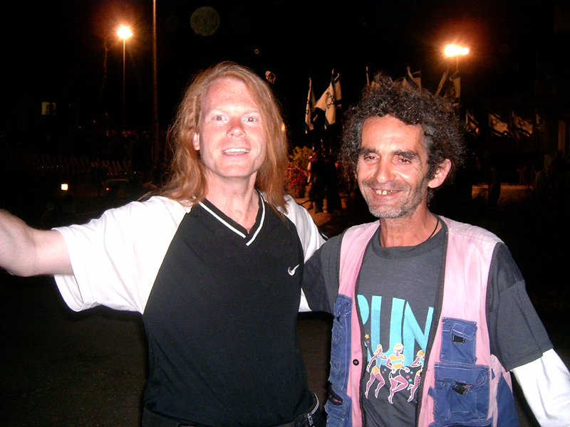 [Misop Baynun and friend from a Kibbutz in Galilee smile during independence day celebrations on the May 11, 2005.]