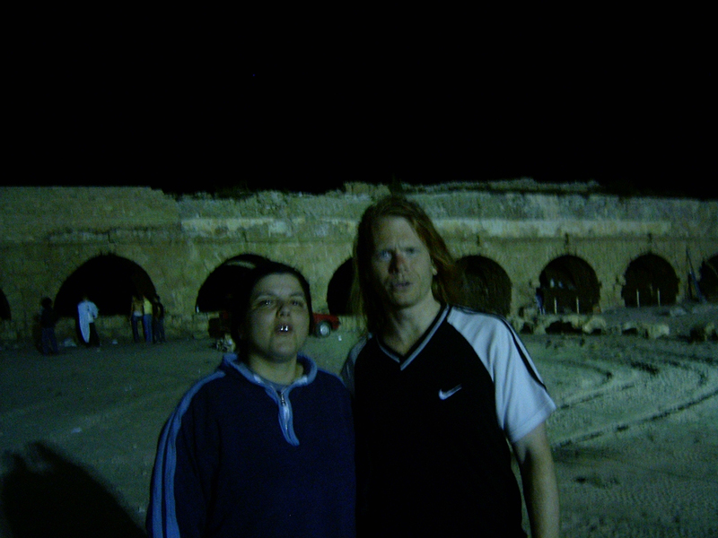MagPro Photo of the Day: Anat and Misop Before the Ancient Roman Aqueduct in Caesarea, Israel  Matthew 16:13, 'When Jesus came into the coasts of Caesarea Philippi, he asked his disciples, saying, Whom do men say that I the Son of man am?'  Acts 10:24, 'And the morrow after they entered into Caesarea. And Cornelius waited for them, and he had called together his kinsmen and near friends.'  For more photos, please visit MagPro Photos (www.MagPro.org/Photos)