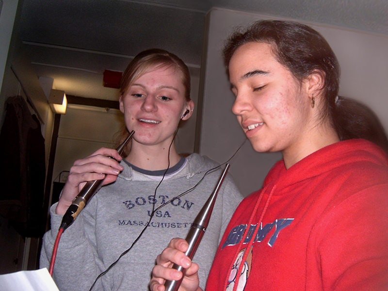 Picture of Becca Corcoran and Nancy Giron-Melendez at a recording session.